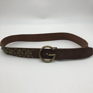 GUESS Brown Full Grain Leather Bronze Studded Belt